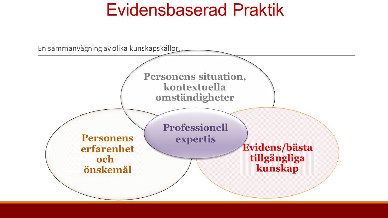 Evidensbaserad Praktik En sammanvägning av olika kunskapskällor…..