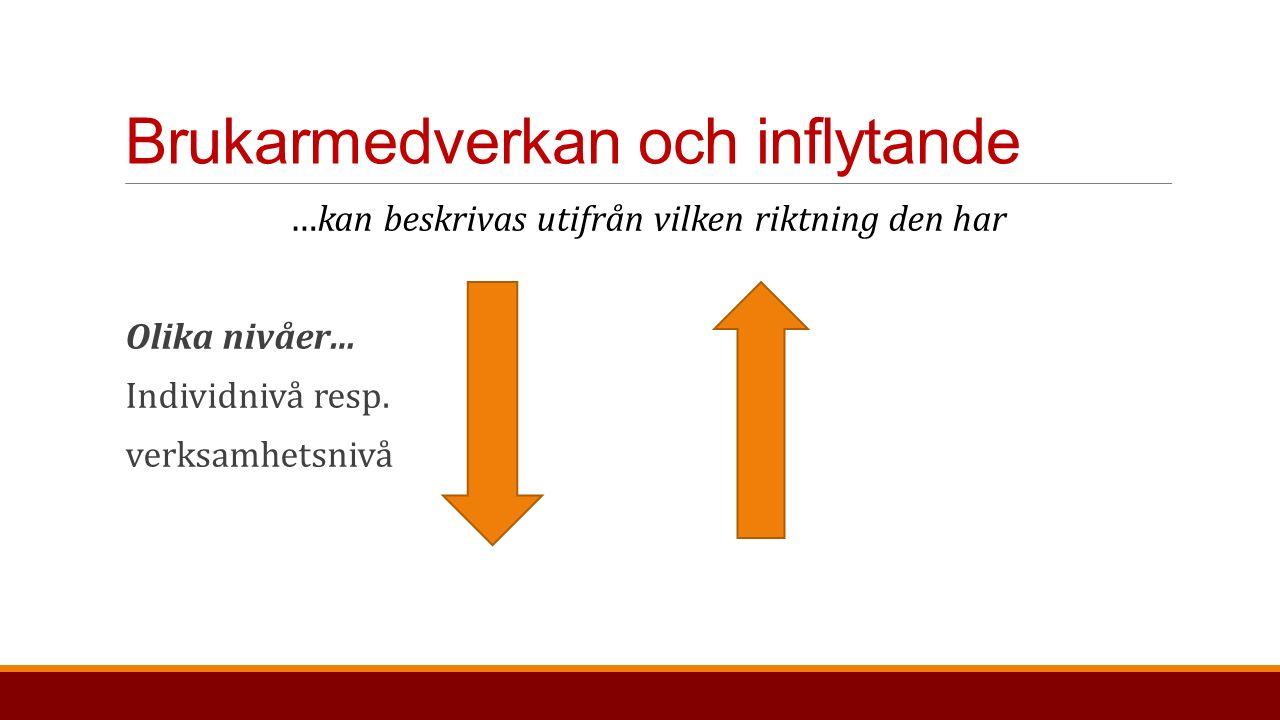 Brukarmedverkan och inflytande …kan beskrivas utifrån vilken riktning den har Olika nivåer… Individnivå resp.