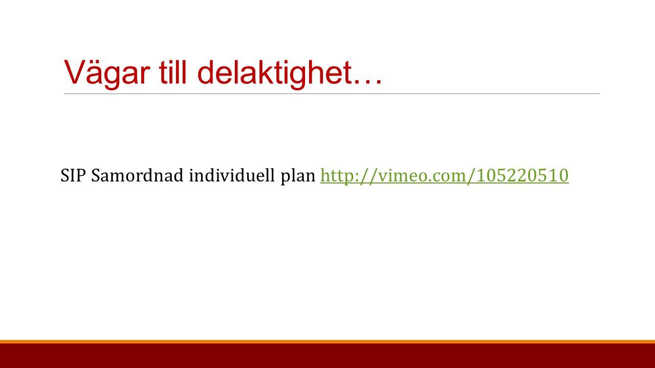 Vägar till delaktighet… SIP Samordnad individuell plan http://vimeo.com/105220510http://vimeo.com/105220510