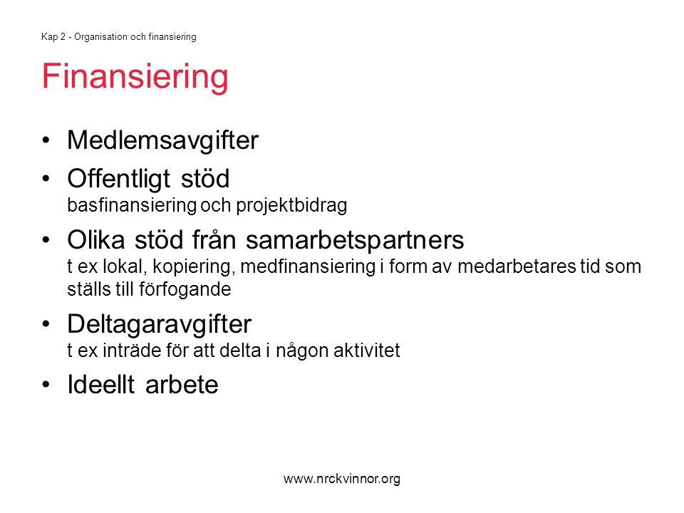www.nrckvinnor.org Kap 2 - Organisation och finansiering Finansiering Medlemsavgifter Offentligt stöd basfinansiering och projektbidrag Olika stöd frå
