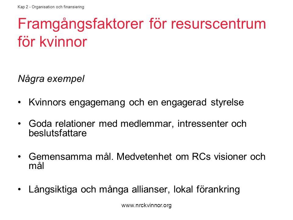www.nrckvinnor.org Kap 2 - Organisation och finansiering Framgångsfaktorer för resurscentrum för kvinnor Några exempel Kvinnors engagemang och en engagerad styrelse Goda relationer med medlemmar, intressenter och beslutsfattare Gemensamma mål.