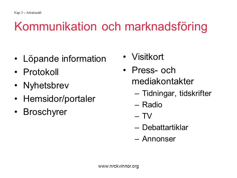 www.nrckvinnor.org Kap 3 – Arbetssätt Kommunikation och marknadsföring Löpande information Protokoll Nyhetsbrev Hemsidor/portaler Broschyrer Visitkort