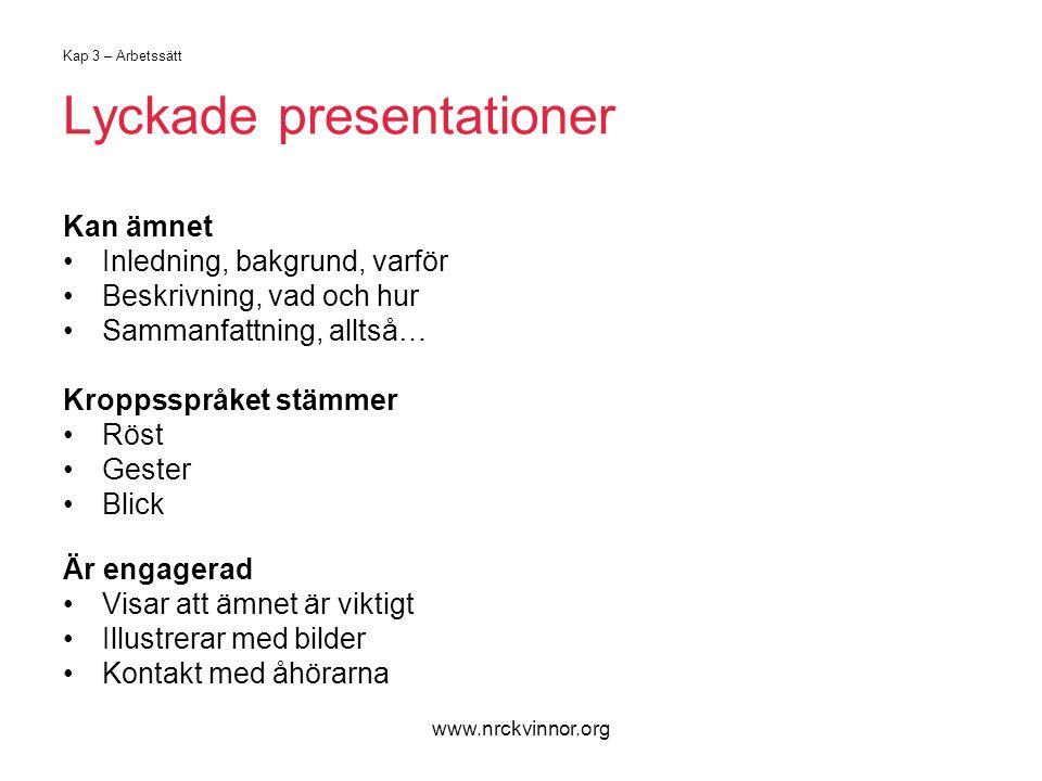 www.nrckvinnor.org Kap 3 – Arbetssätt Lyckade presentationer Kan ämnet Inledning, bakgrund, varför Beskrivning, vad och hur Sammanfattning, alltså… Kr