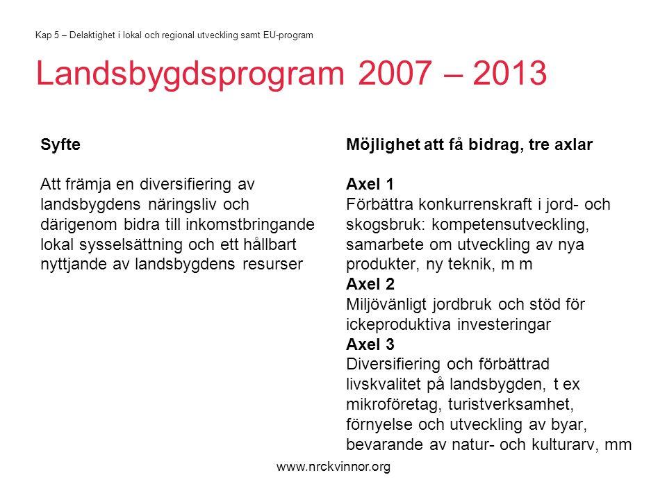 www.nrckvinnor.org Kap 5 – Delaktighet i lokal och regional utveckling samt EU-program Landsbygdsprogram 2007 – 2013 Syfte Att främja en diversifiering av landsbygdens näringsliv och därigenom bidra till inkomstbringande lokal sysselsättning och ett hållbart nyttjande av landsbygdens resurser Möjlighet att få bidrag, tre axlar Axel 1 Förbättra konkurrenskraft i jord- och skogsbruk: kompetensutveckling, samarbete om utveckling av nya produkter, ny teknik, m m Axel 2 Miljövänligt jordbruk och stöd för ickeproduktiva investeringar Axel 3 Diversifiering och förbättrad livskvalitet på landsbygden, t ex mikroföretag, turistverksamhet, förnyelse och utveckling av byar, bevarande av natur- och kulturarv, mm