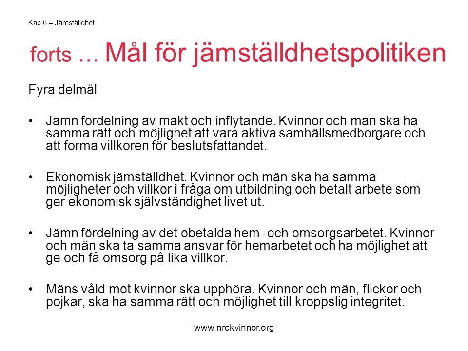 www.nrckvinnor.org Kap 6 – Jämställdhet forts … Mål för jämställdhetspolitiken Fyra delmål Jämn fördelning av makt och inflytande.