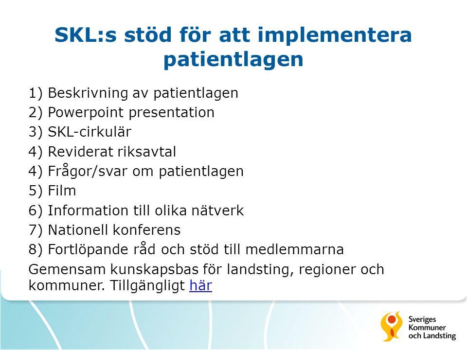 SKL:s stöd för att implementera patientlagen 1) Beskrivning av patientlagen 2) Powerpoint presentation 3) SKL-cirkulär 4) Reviderat riksavtal 4) Frågo