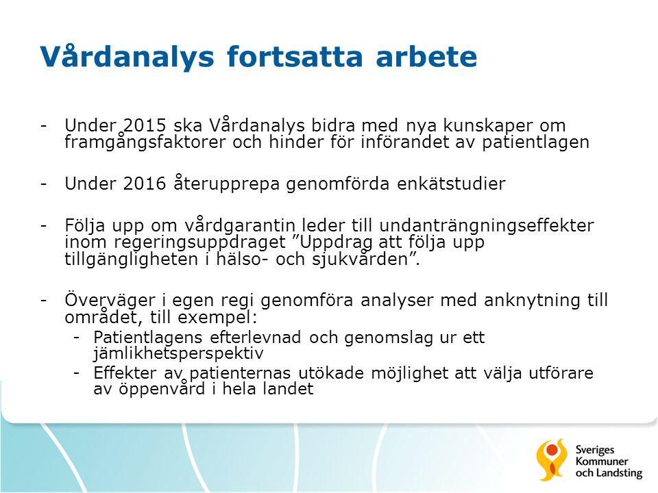 Vårdanalys fortsatta arbete -Under 2015 ska Vårdanalys bidra med nya kunskaper om framgångsfaktorer och hinder för införandet av patientlagen -Under 2016 återupprepa genomförda enkätstudier -Följa upp om vårdgarantin leder till undanträngningseffekter inom regeringsuppdraget Uppdrag att följa upp tillgängligheten i hälso- och sjukvården .