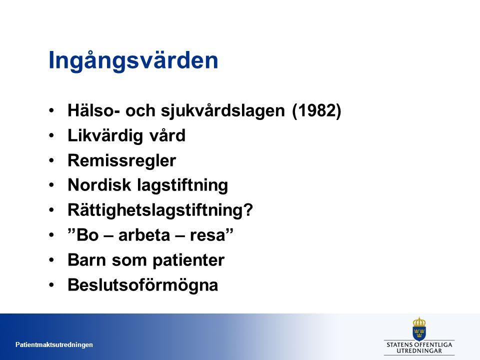 Patientmaktsutredningen Ingångsvärden Hälso- och sjukvårdslagen (1982) Likvärdig vård Remissregler Nordisk lagstiftning Rättighetslagstiftning.