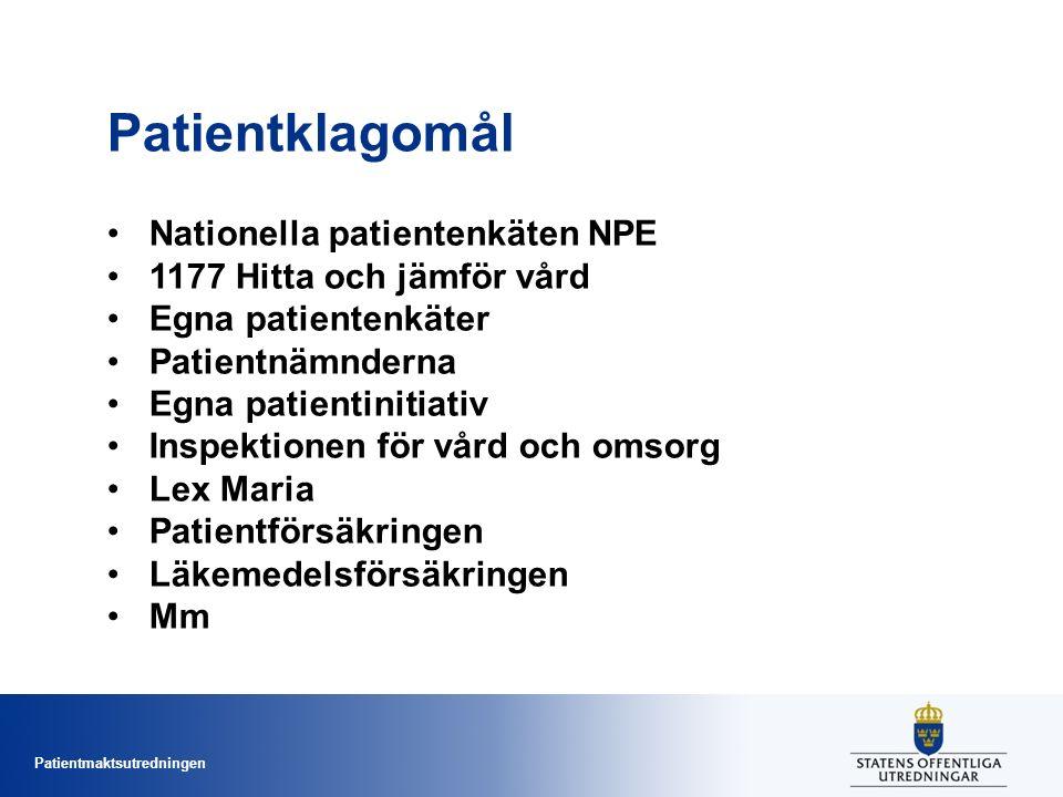 Patientmaktsutredningen Patientklagomål Nationella patientenkäten NPE 1177 Hitta och jämför vård Egna patientenkäter Patientnämnderna Egna patientinitiativ Inspektionen för vård och omsorg Lex Maria Patientförsäkringen Läkemedelsförsäkringen Mm