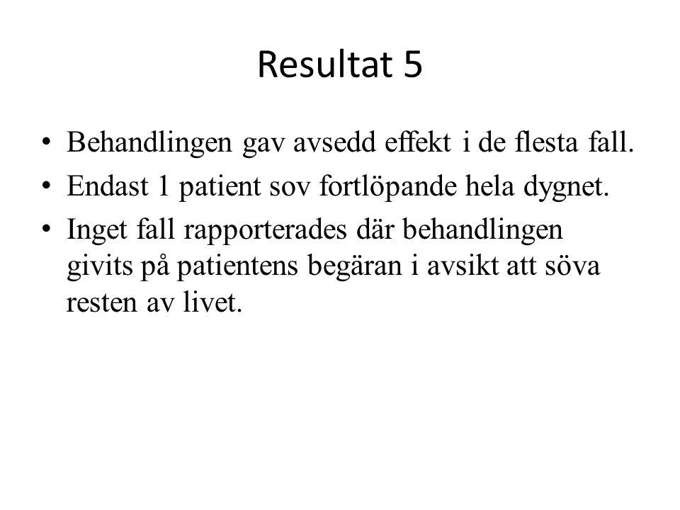 Resultat 5 Behandlingen gav avsedd effekt i de flesta fall. Endast 1 patient sov fortlöpande hela dygnet. Inget fall rapporterades där behandlingen gi
