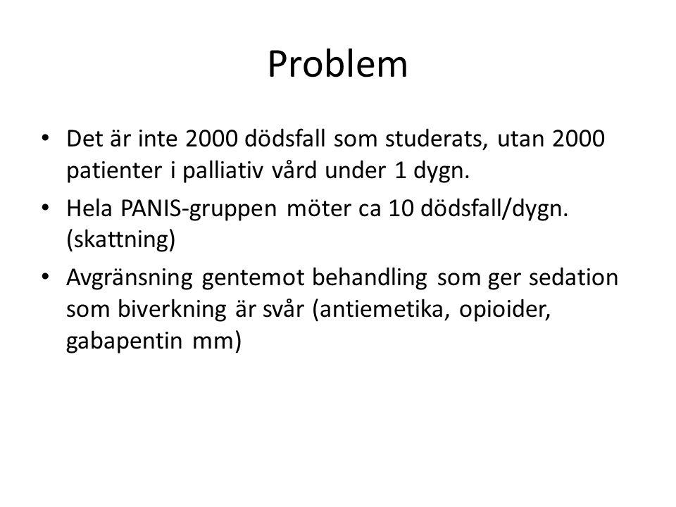 Problem Det är inte 2000 dödsfall som studerats, utan 2000 patienter i palliativ vård under 1 dygn. Hela PANIS-gruppen möter ca 10 dödsfall/dygn. (ska