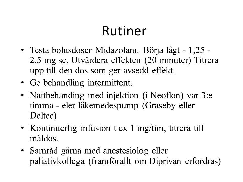 Rutiner Testa bolusdoser Midazolam. Börja lågt - 1,25 - 2,5 mg sc. Utvärdera effekten (20 minuter) Titrera upp till den dos som ger avsedd effekt. Ge