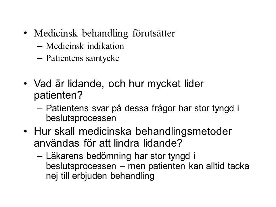 Medicinsk behandling förutsätter – Medicinsk indikation – Patientens samtycke Vad är lidande, och hur mycket lider patienten? –Patientens svar på dess