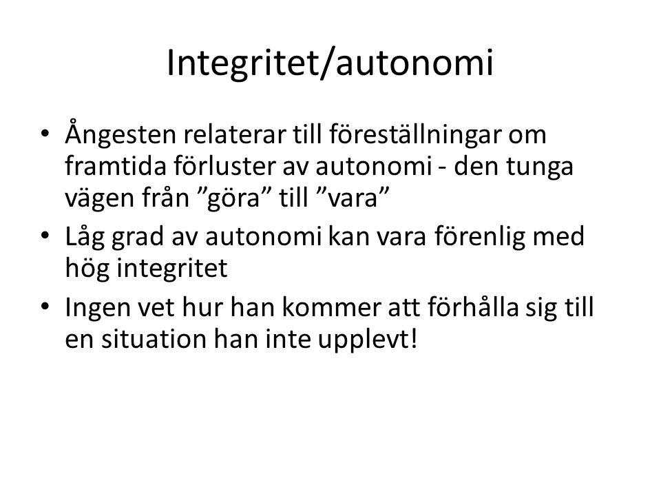 """Integritet/autonomi Ångesten relaterar till föreställningar om framtida förluster av autonomi - den tunga vägen från """"göra"""" till """"vara"""" Låg grad av au"""