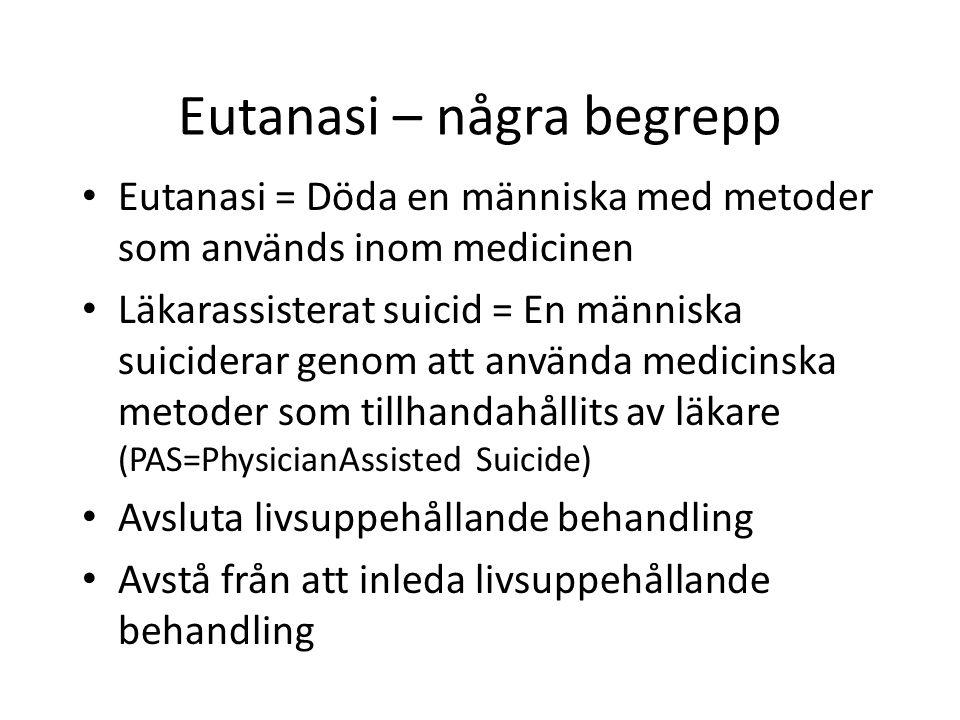 Eutanasi – några begrepp Eutanasi = Döda en människa med metoder som används inom medicinen Läkarassisterat suicid = En människa suiciderar genom att