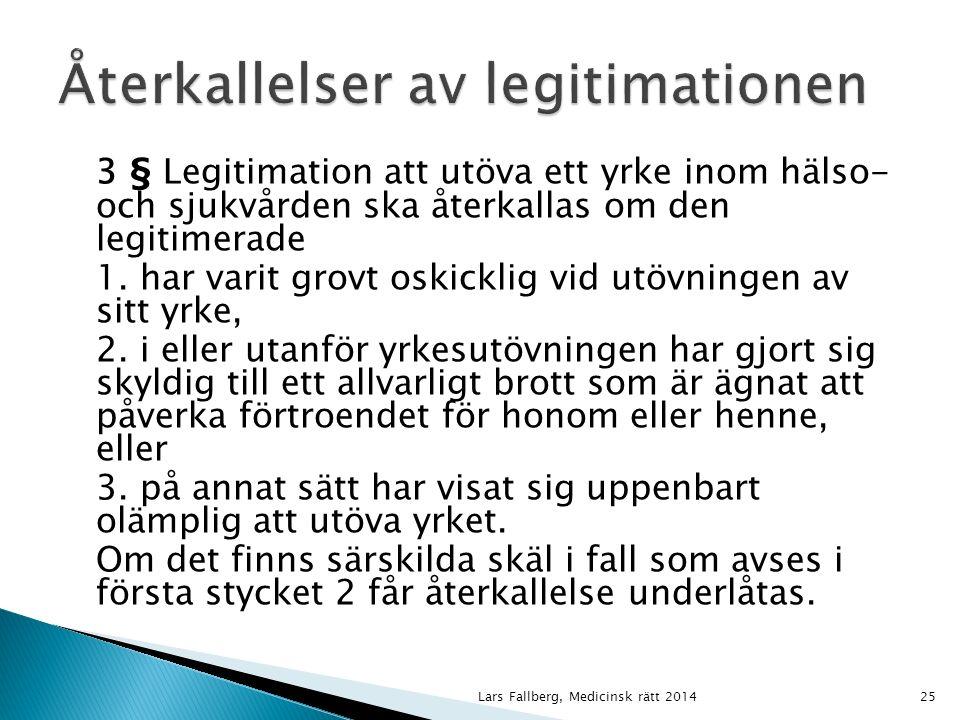3 § Legitimation att utöva ett yrke inom hälso- och sjukvården ska återkallas om den legitimerade 1.