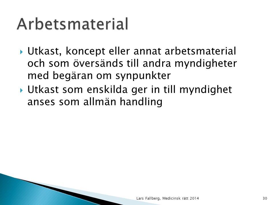  Utkast, koncept eller annat arbetsmaterial och som översänds till andra myndigheter med begäran om synpunkter  Utkast som enskilda ger in till myndighet anses som allmän handling Lars Fallberg, Medicinsk rätt 201430