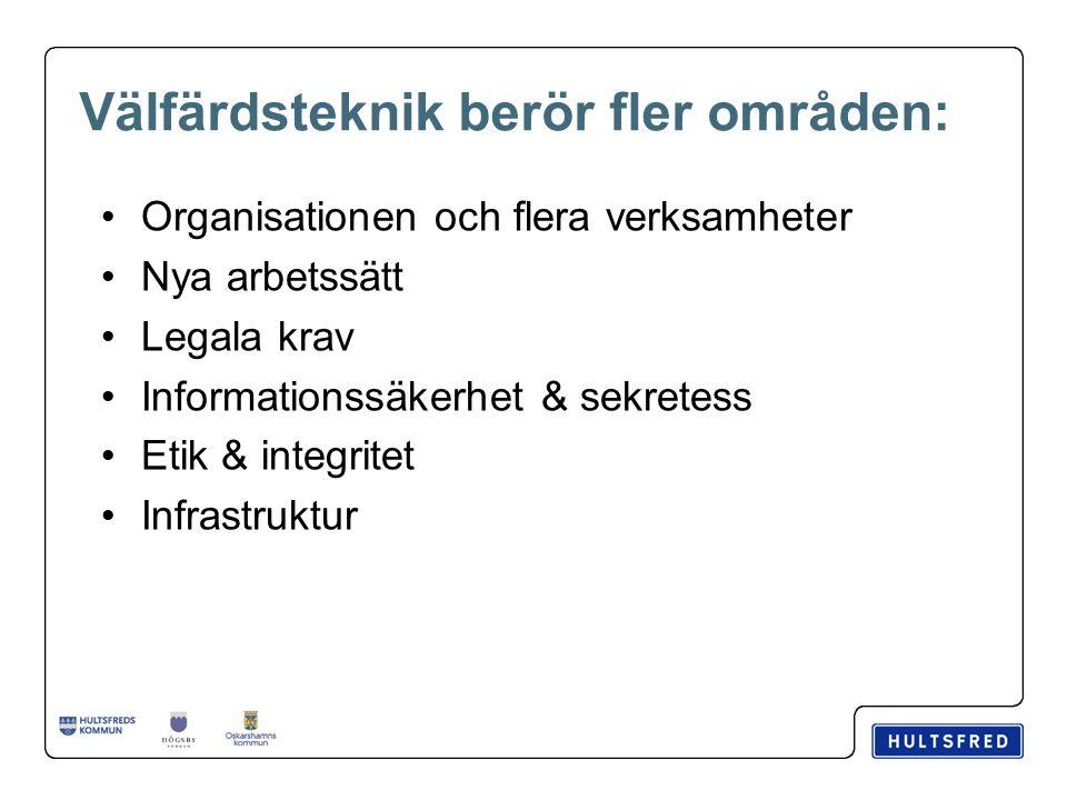 Välfärdsteknik berör fler områden: Organisationen och flera verksamheter Nya arbetssätt Legala krav Informationssäkerhet & sekretess Etik & integritet