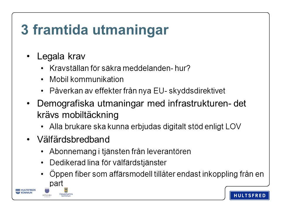 3 framtida utmaningar Legala krav Kravställan för säkra meddelanden- hur? Mobil kommunikation Påverkan av effekter från nya EU- skyddsdirektivet Demog