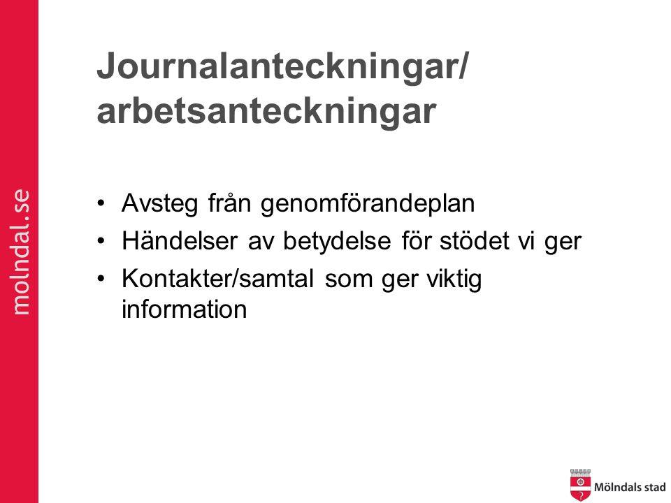 molndal.se Journalanteckningar/ arbetsanteckningar Avsteg från genomförandeplan Händelser av betydelse för stödet vi ger Kontakter/samtal som ger viktig information