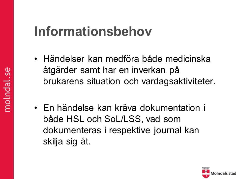molndal.se Informationsbehov Händelser kan medföra både medicinska åtgärder samt har en inverkan på brukarens situation och vardagsaktiviteter. En hän