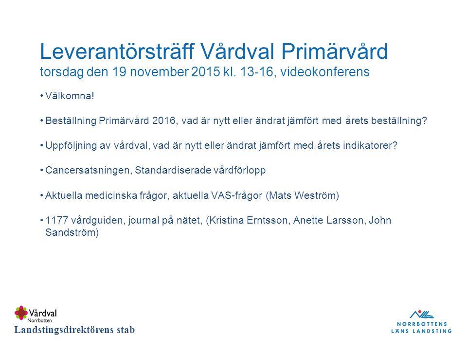 DIVISION Landstingsdirektörens stab Leverantörsträff Vårdval Primärvård torsdag den 19 november 2015 kl.