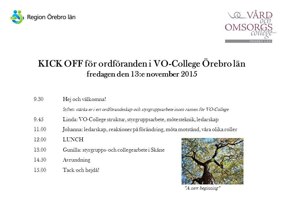 KICK OFF för ordföranden i VO-College Örebro län fredagen den 13:e november 2015 9.30 Hej och välkomna.