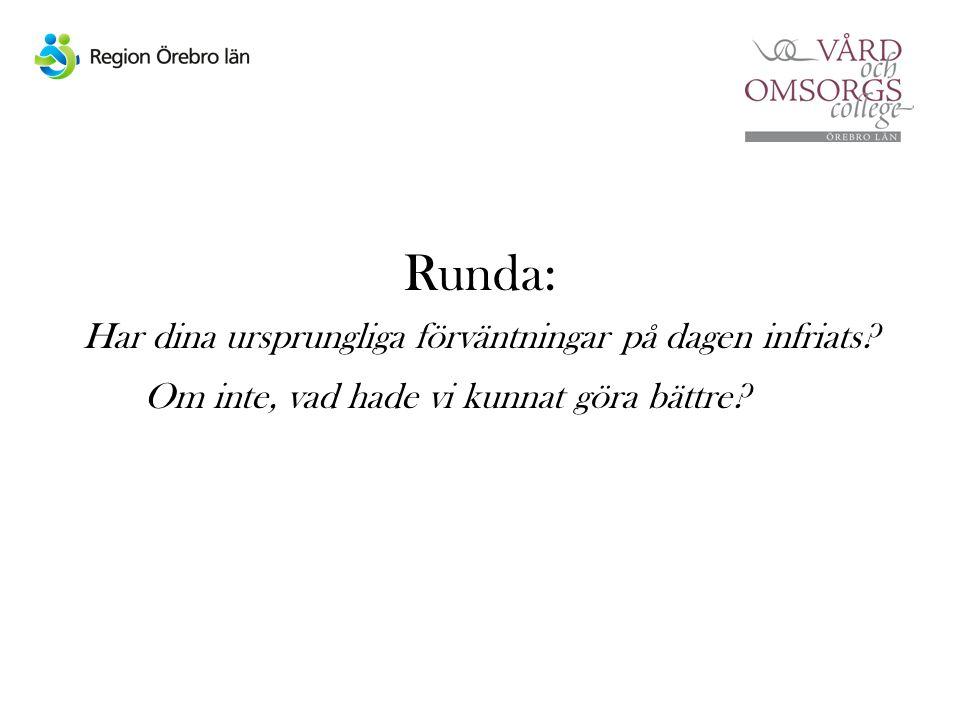 Runda: Har dina ursprungliga förväntningar på dagen infriats.