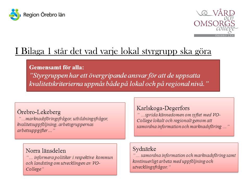 I Bilaga 1 står det vad varje lokal styrgrupp ska göra Örebro-Lekeberg …marknadsföringsfrågor, utbildningsfrågor, kvalitetsuppföljning, arbetsgruppernas arbetsuppgifter... Örebro-Lekeberg …marknadsföringsfrågor, utbildningsfrågor, kvalitetsuppföljning, arbetsgruppernas arbetsuppgifter... Karlskoga-Degerfors …sprida kännedomen om syftet med VO- College lokalt och regionalt genom att samordna information och marknadsföring … Karlskoga-Degerfors …sprida kännedomen om syftet med VO- College lokalt och regionalt genom att samordna information och marknadsföring … Norra länsdelen … informera politiker i respektive kommun och landsting om utvecklingen av VO- College Norra länsdelen … informera politiker i respektive kommun och landsting om utvecklingen av VO- College Sydnärke … samordna information och marknadsföring samt kontinuerligt arbeta med uppföljning och utvecklingsfrågor. Sydnärke … samordna information och marknadsföring samt kontinuerligt arbeta med uppföljning och utvecklingsfrågor. Gemensamt för alla: Styrgruppen har ett övergripande ansvar för att de uppsatta kvalitetskriterierna uppnås både på lokal och på regional nivå.