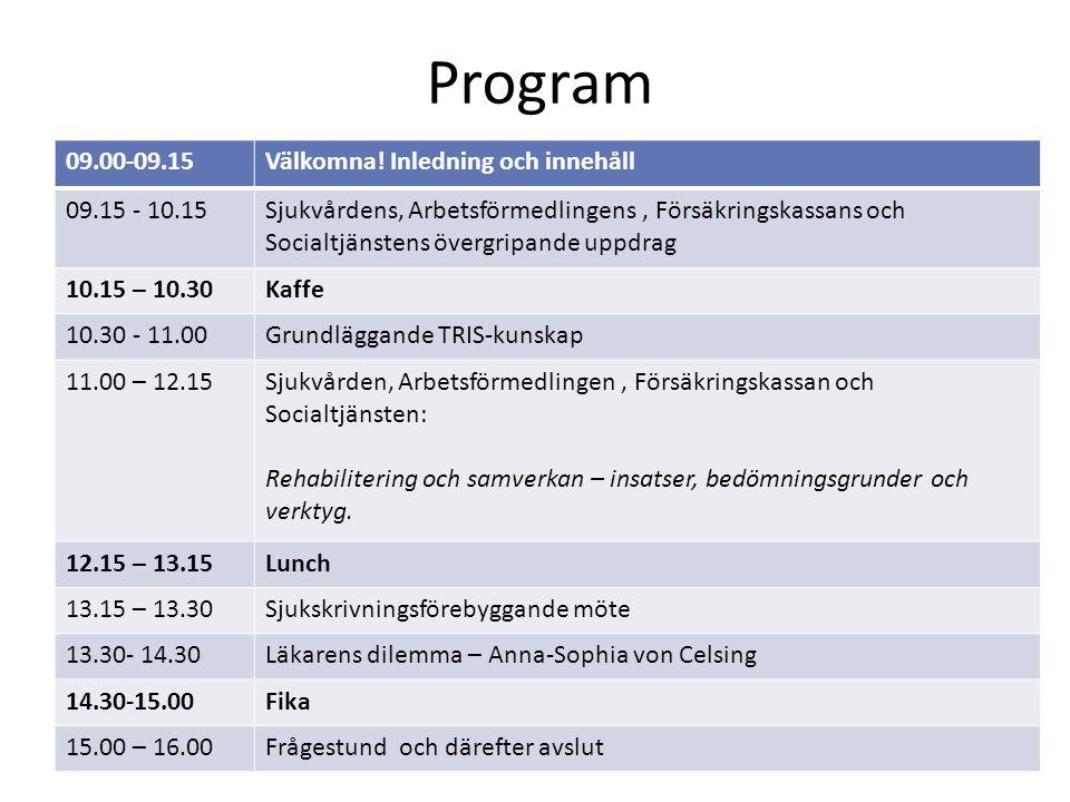 Program 09.00-09.15Välkomna! Inledning och innehåll 09.15 - 10.15Sjukvårdens, Arbetsförmedlingens, Försäkringskassans och Socialtjänstens övergripande