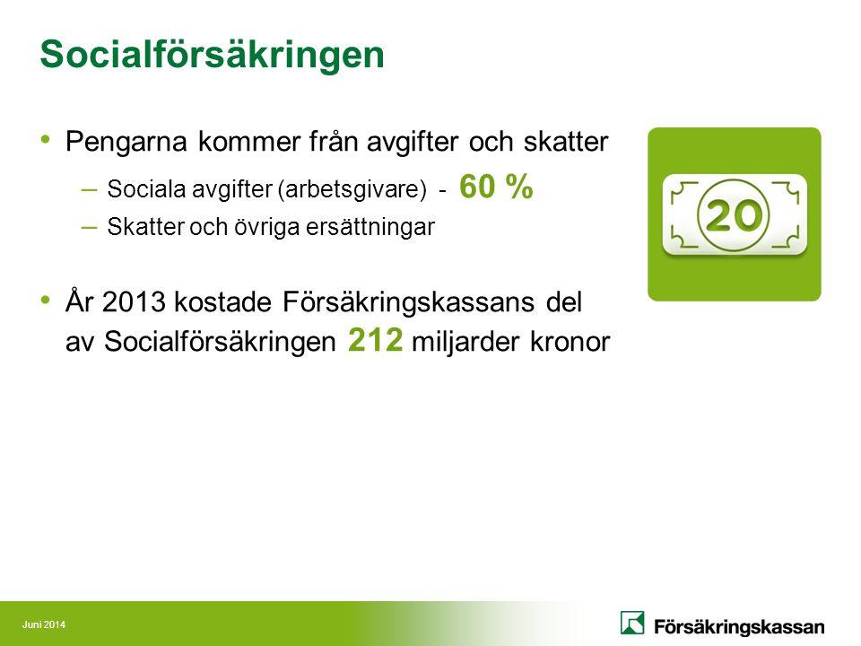 Juni 2014 Pengarna kommer från avgifter och skatter – Sociala avgifter (arbetsgivare) - 60 % – Skatter och övriga ersättningar År 2013 kostade Försäkr