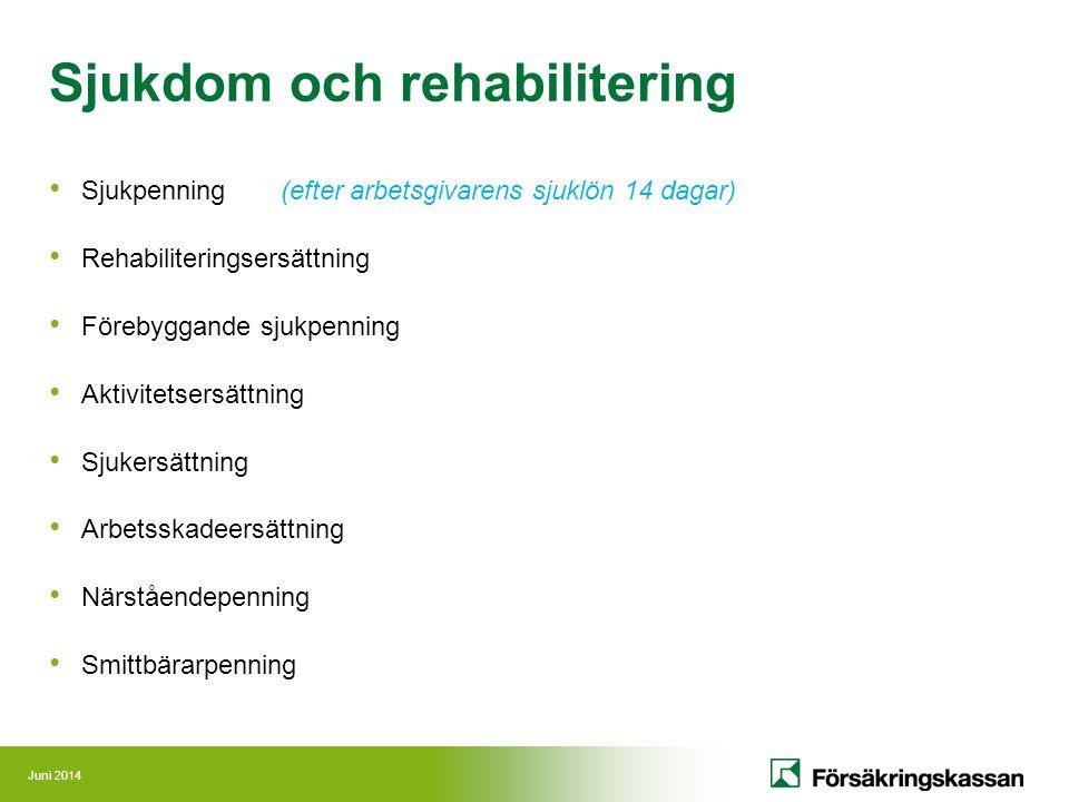 Juni 2014 Sjukdom och rehabilitering Sjukpenning (efter arbetsgivarens sjuklön 14 dagar) Rehabiliteringsersättning Förebyggande sjukpenning Aktivitets