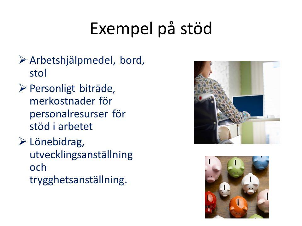 Exempel på stöd  Arbetshjälpmedel, bord, stol  Personligt biträde, merkostnader för personalresurser för stöd i arbetet  Lönebidrag, utvecklingsans
