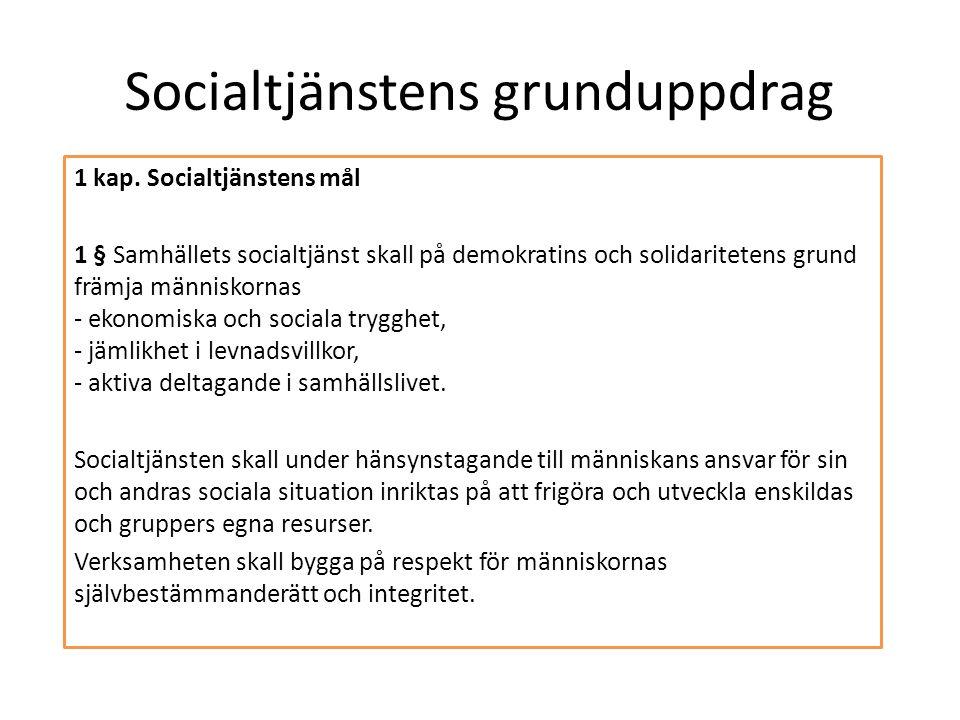 Socialtjänstens grunduppdrag 1 kap. Socialtjänstens mål 1 § Samhällets socialtjänst skall på demokratins och solidaritetens grund främja människornas
