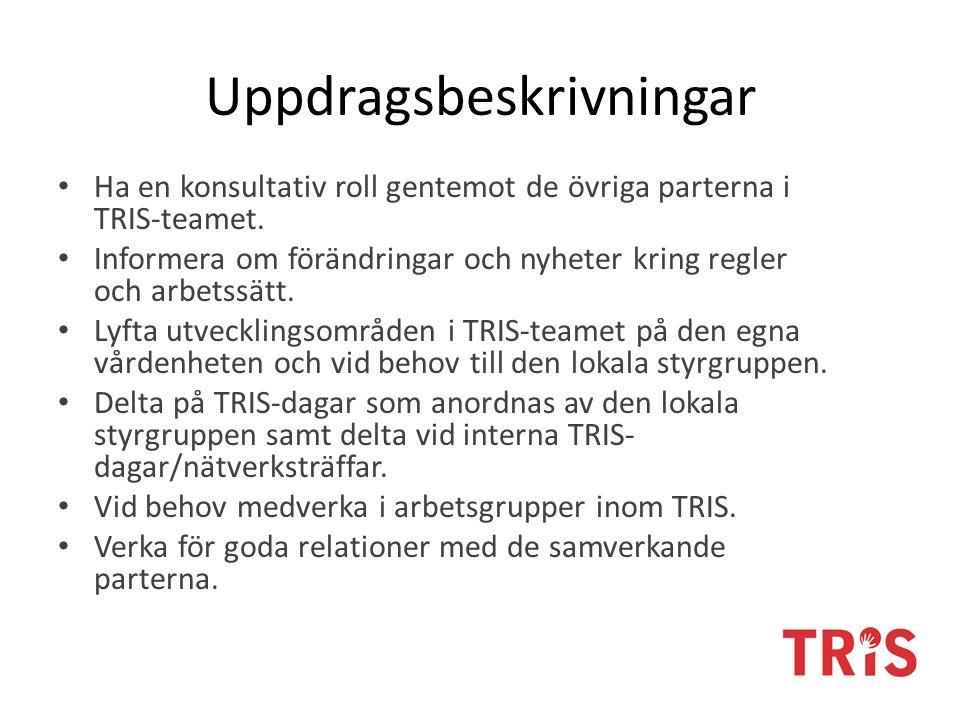 Uppdragsbeskrivningar Ha en konsultativ roll gentemot de övriga parterna i TRIS-teamet. Informera om förändringar och nyheter kring regler och arbetss