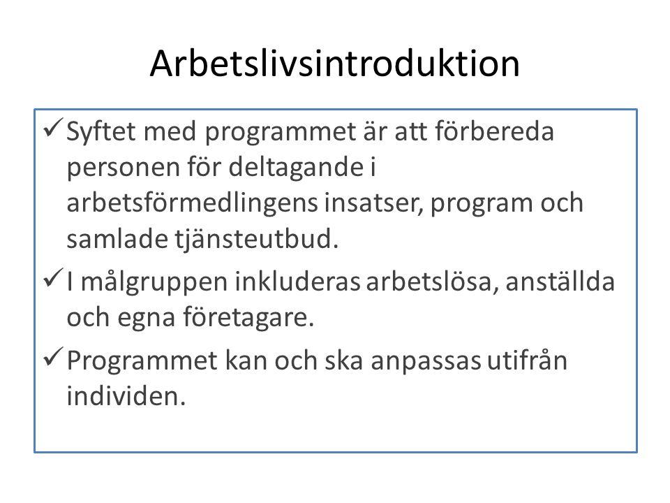 Arbetslivsintroduktion Syftet med programmet är att förbereda personen för deltagande i arbetsförmedlingens insatser, program och samlade tjänsteutbud