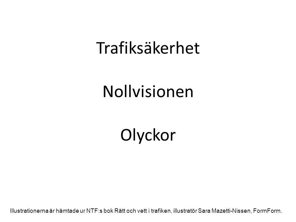 Trafiksäkerhet Nollvisionen Olyckor Illustrationerna är hämtade ur NTF:s bok Rätt och vett i trafiken, illustratör Sara Mazetti-Nissen, FormForm.