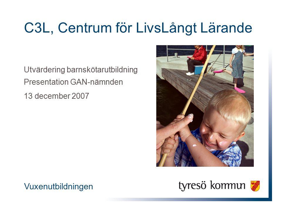 C3L, Centrum för LivsLångt Lärande Utvärdering barnskötarutbildning Presentation GAN-nämnden 13 december 2007 Vuxenutbildningen