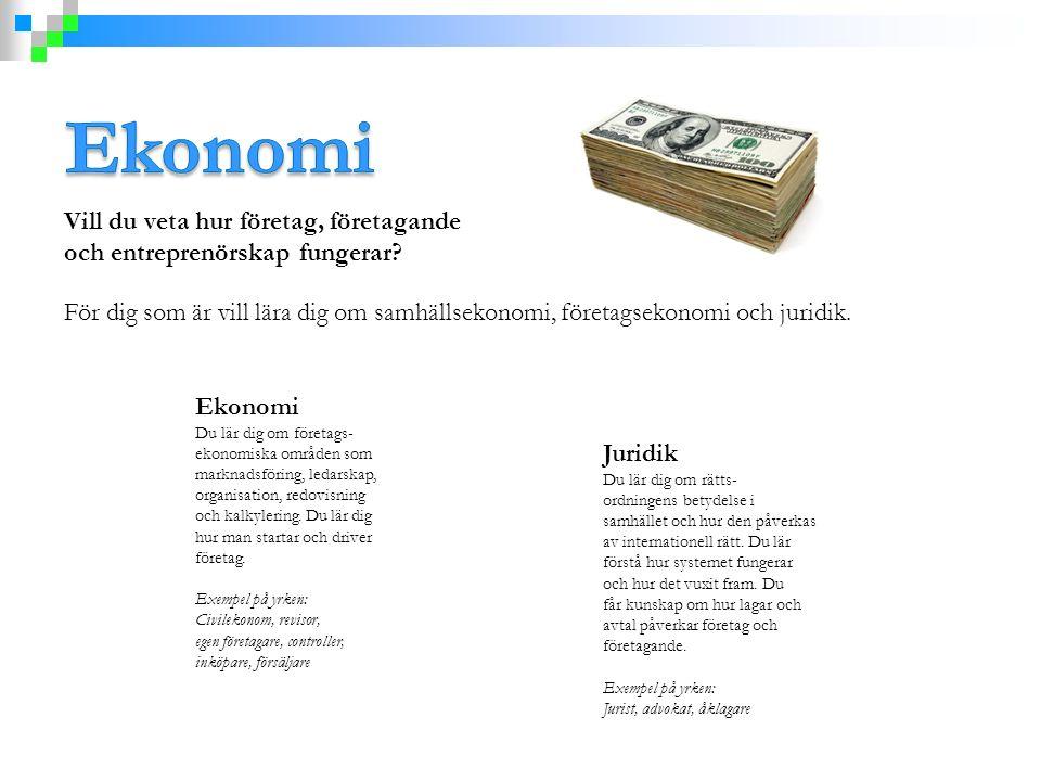 Vill du veta hur företag, företagande och entreprenörskap fungerar? För dig som är vill lära dig om samhällsekonomi, företagsekonomi och juridik. Ekon