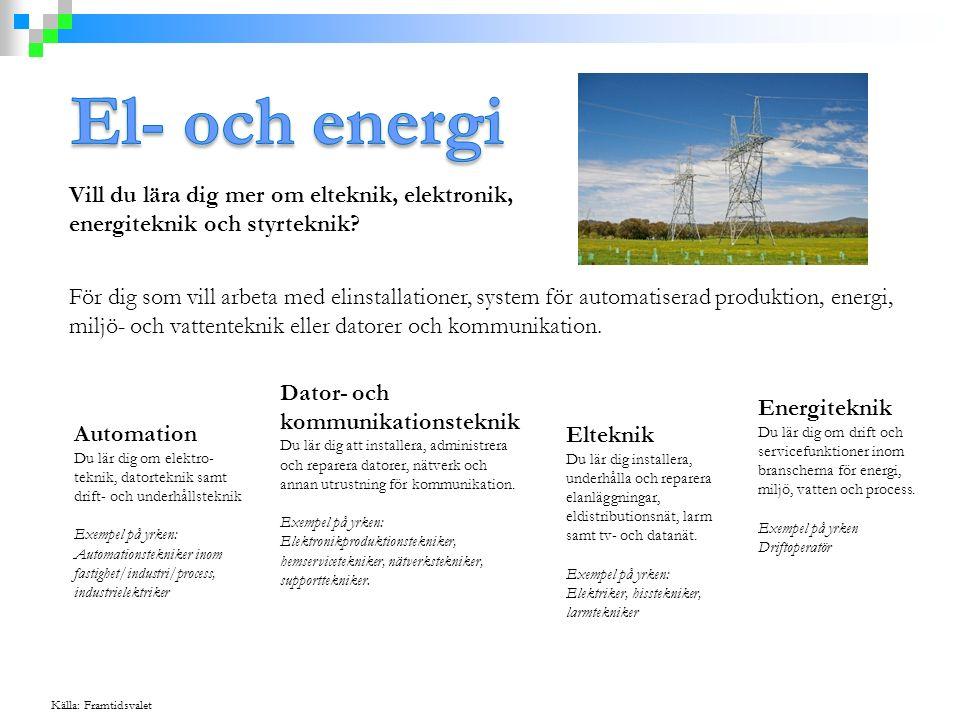 Vill du lära dig mer om elteknik, elektronik, energiteknik och styrteknik? För dig som vill arbeta med elinstallationer, system för automatiserad prod