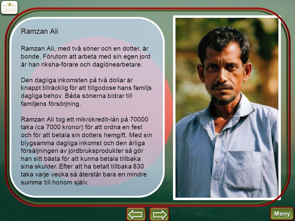 Ramzan Ali Ramzan Ali, med två söner och en dotter, är bonde. Förutom att arbeta med sin egen jord är han riksha-förare och daglönearbetare. Den dagli
