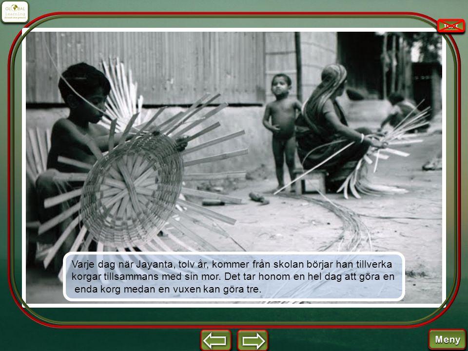 Varje dag när Jayanta, tolv år, kommer från skolan börjar han tillverka korgar tillsammans med sin mor. Det tar honom en hel dag att göra en enda korg