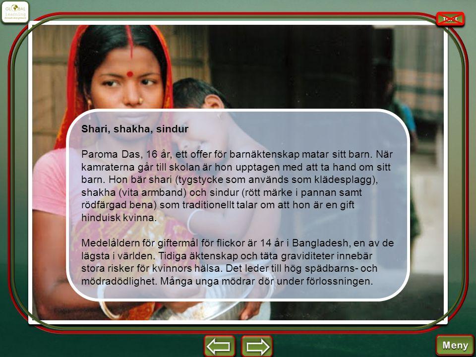 Shari, shakha, sindur Paroma Das, 16 år, ett offer för barnäktenskap matar sitt barn. När kamraterna går till skolan är hon upptagen med att ta hand o
