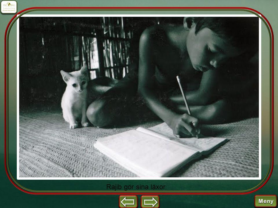 Rajib gör sina läxor.