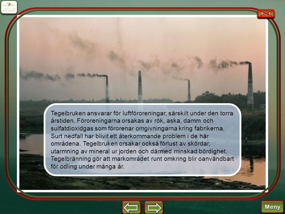 Tegelbruken ansvarar för luftföroreningar, särskilt under den torra årstiden. Föroreningarna orsakas av rök, aska, damm och sulfatdioxidgas som förore