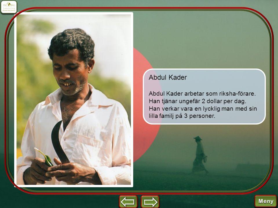 Abdul Kader skördar ris.Han odlar ris bara för den egna familjens årliga behov.