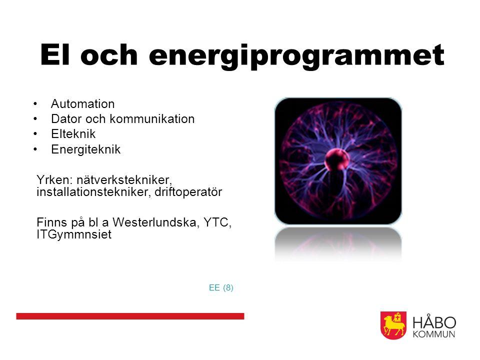 El och energiprogrammet Automation Dator och kommunikation Elteknik Energiteknik Yrken: nätverkstekniker, installationstekniker, driftoperatör Finns på bl a Westerlundska, YTC, ITGymmnsiet EE (8)
