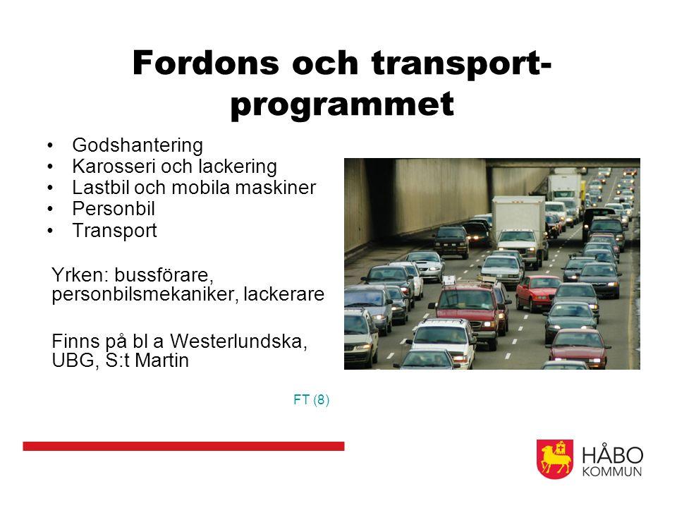 Fordons och transport- programmet Godshantering Karosseri och lackering Lastbil och mobila maskiner Personbil Transport Yrken: bussförare, personbilsm