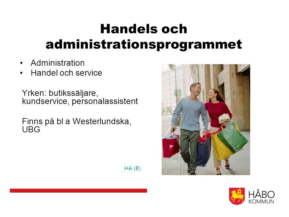 Handels och administrationsprogrammet Administration Handel och service Yrken: butikssäljare, kundservice, personalassistent Finns på bl a Westerlundska, UBG HA (8)