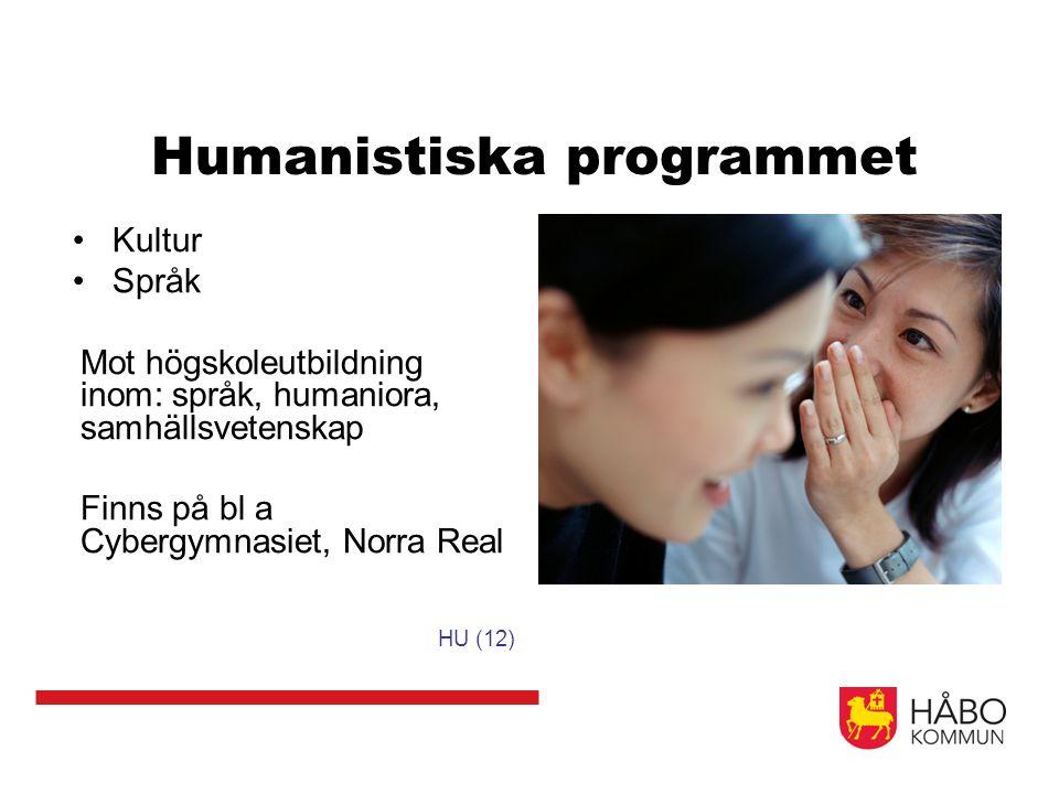Humanistiska programmet Kultur Språk Mot högskoleutbildning inom: språk, humaniora, samhällsvetenskap Finns på bl a Cybergymnasiet, Norra Real HU (12)